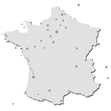 Carte des écoles de batterie Agostini en l'Europe