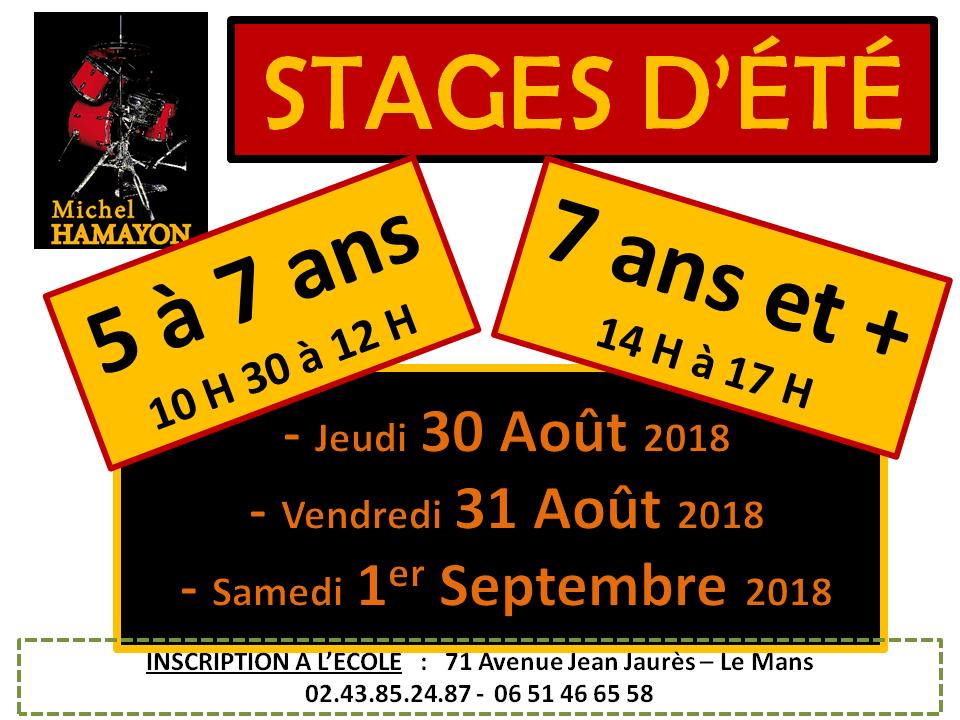 Affiche stage Ecole de batterie Michel HAMAYON